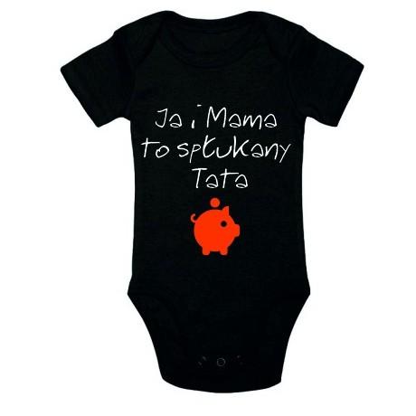 Body niemowlęce z nadrukiem JA I MAMA TO SPŁUKANY TATA