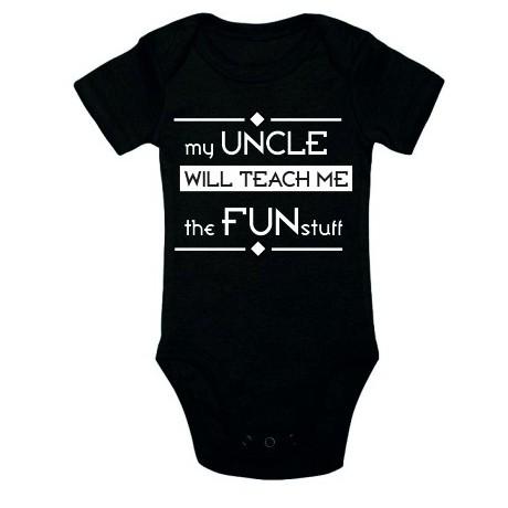 Body niemowlęce z nadrukiem MY UNCLE WILL TEACH ME THE FUN STUFF
